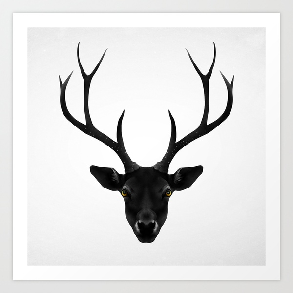 Stag horn ideas.......The Black Deer Art Print by Ruben Ireland | Society6