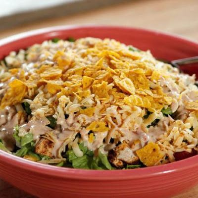 Chicken Taco Salad  . .leave off the chips and maybe the corn for a low carb meal