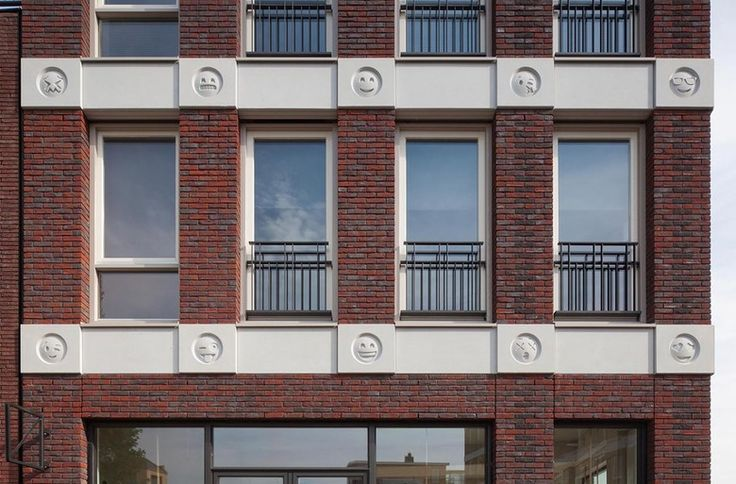 A Building that Smiles and Winks – Amsterdam's Attika Architekten designed a mixed-use building in Amersfoort decorated with 22 emojis in cast concrete. Completed last year, the photographs from last month have been making a splash on mainstream websites and social media. (Photo: © Attika Architekten / Bart van Hoek)