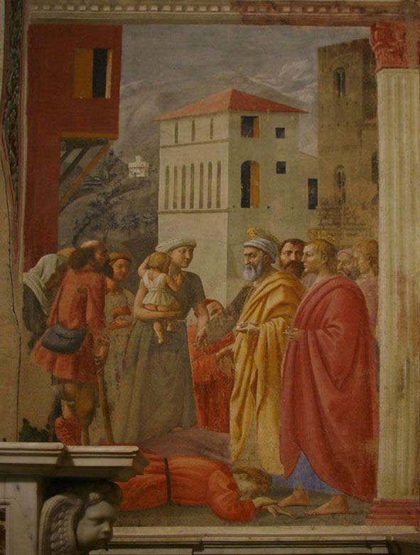 Brancacci Chapel - Florence. Мазаччо - раздача милостыни и смерть Анании.