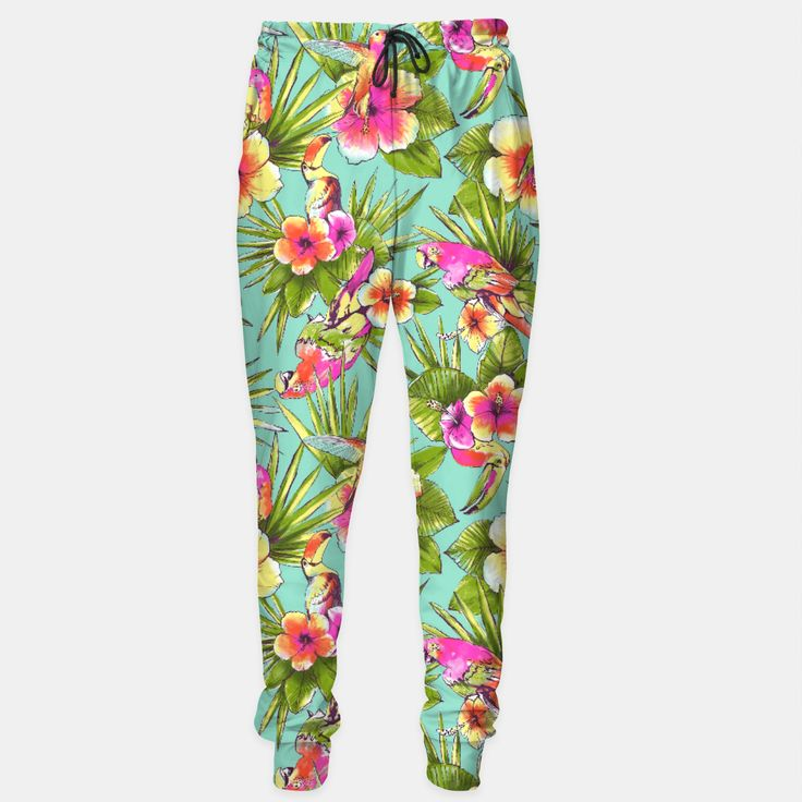 Parrots with flowers Sweatpants, Live Heroes