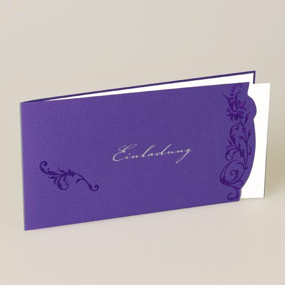 EINLADUNGSKARTE  Farbe: Violett / Lila mit silberner Schrift, Innenblatt: Creme-Weiß, Papier: gehämmertes Feinstpapier matt, Format: 21 x 10,5 cm geschlossen (BxH), 42 x 10,5 cm offen (BxH), Veredelungen: Heißfolienprägung, Stanzung, Umschläge: Passend lieferbar, Besonderheiten: besonderes Muster, Heißfolienprägung Violett und Silber, Preis: 1,89 EUR (inkl. Versandumschläge und MwSt.)