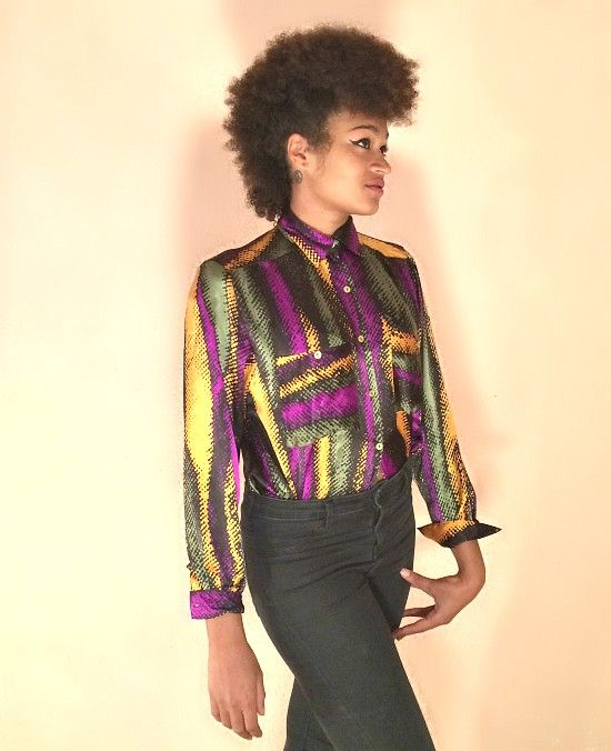 f051cae9c1203c 80s vintage tricolour satin blouse, purple, green, yellow, black. To find