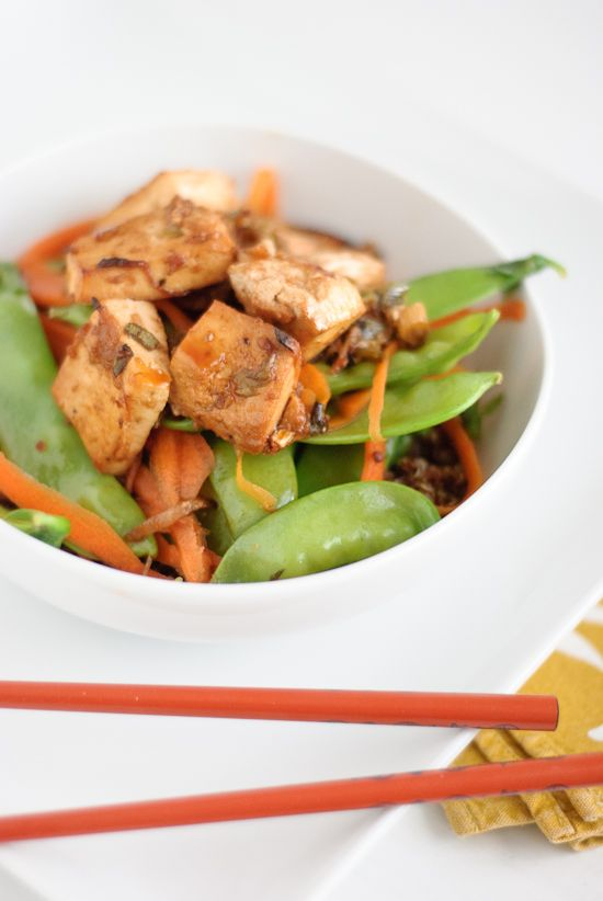Healthy Asian-inspired meal with roasted tofu, steamed veggies and quinoa. This vegan dish is flavorful and guilt free!