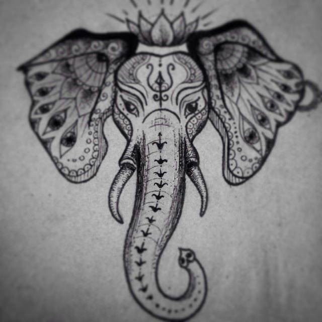 Indian elephant head tattoo sketch #tattooart #tattoopins ...