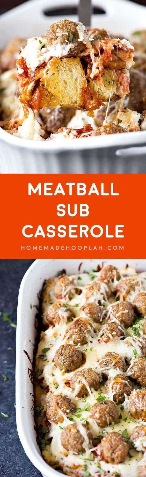 Meatball Sub Casserole! Layers of savory meatballs, creamy mozzarella cheese, and buttery garlic bread make this meatball sub casserole a perfect weeknight dinner.   HomemadeHooplah.com