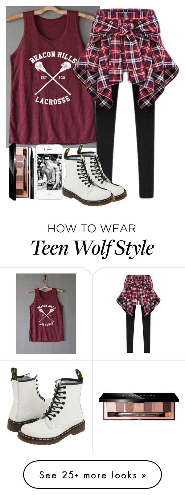 """Teen wolf"" by itshammertime on Polyvore featuring Beacon, Bobbi Brown Cosmetics, Dr. Martens and Elizabeth Arden"