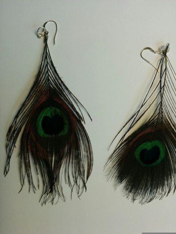 Peacock earrings with french hooks in by BijouxLaMontrealaise