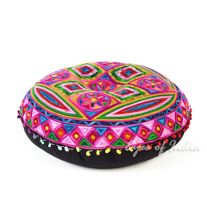 Pink Boho Embroidered Decorative Seating Bohemian Floor Cushion Pillow Pouf Cover 24