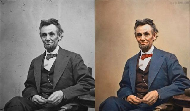 Abraham Lincoln, 1865 Colorizing photos--this is something I'd like to do with some of the family photos