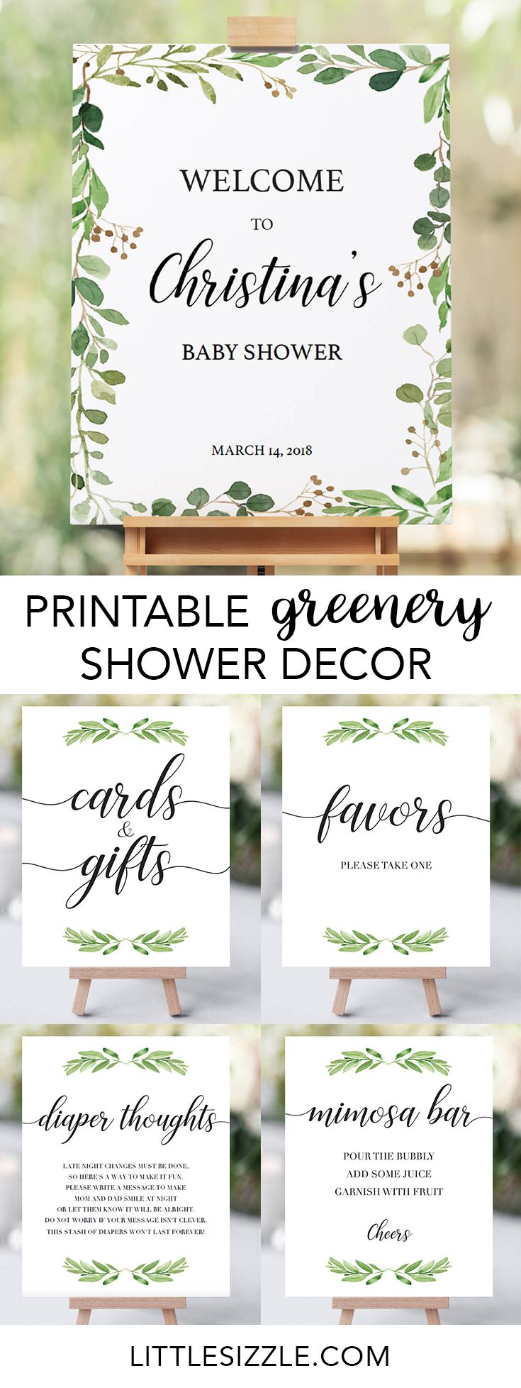 Greenery baby shower ideas by LittleSizzle. Printable green shower decor for your neutral baby shower. These greenery shower decorations with gorgeous watercolor leaves are perfect for any boho or botanical themed shower. With these greenery DIY signs, you will add a really great touch to any green baby shower. This neutral baby shower decor package includes the following shower signs: Welcome sign, Mimosa Bar sign, Favors sign, Cards and Gifts sign. #DIY #printable #showerdecor #greenery