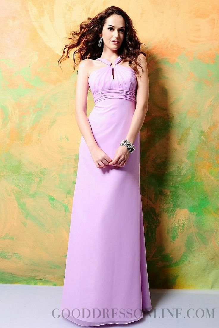 2015 Gorgeous A-line Halter Ruffles Chiffon Bridesmaid Dresses