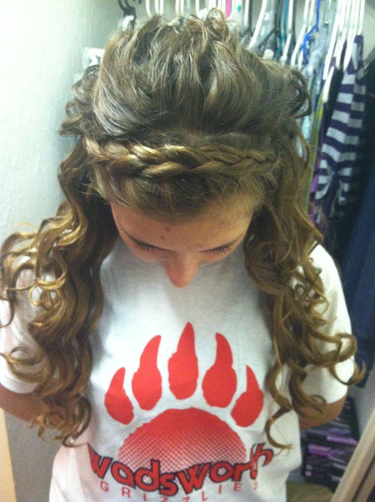 Tin foil curls with dutch headband braid