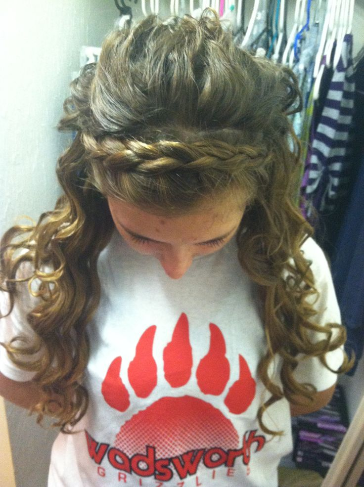 Tin foil curls with dutch headband braid