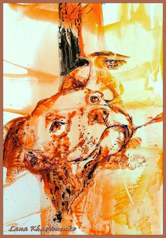 Картина выполнена восковыми карандашами на картоне (формат А4) с помощью утюга