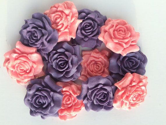 Edible Pink and Purple Roses Sugar Roses by TheVillageCakeCo