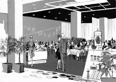 An illustration of the Zodiac Room from the 1950s. The renowned spot, on the sixth floor of Neiman Marcus' flagship store, at the time was famous for its lavish dinner buffets on nights the store was open.
