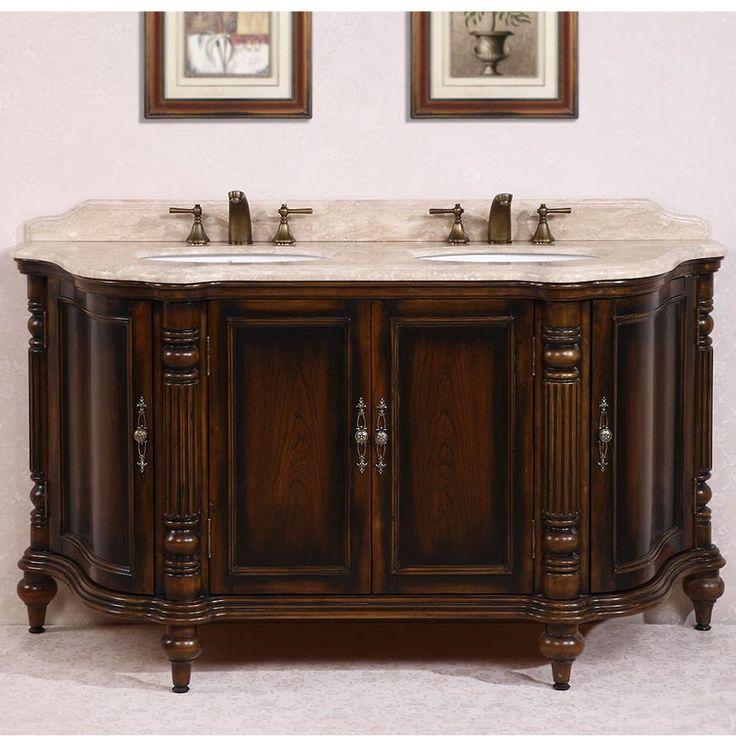 Legion Furniture White Travertine Top Antique Brown 67