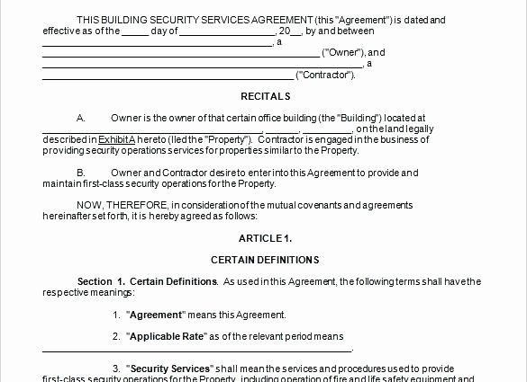 Security Guard Contract Template In 2020 Contract Template