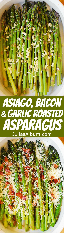 Asiago, Bacon, and Garlic Roasted Asparagus - a delicious way to cook asparagus: crispy and crunchy. Healthy, gluten free recipe.