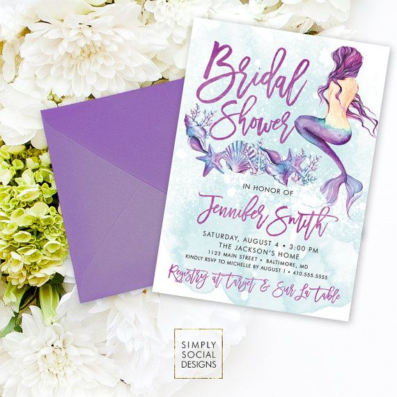 Under the Sea Mermaid Bridal Shower Invitation - Seashell Starfish Coral Boho Watercolor Beach Invitation Purple and Aqua Watercolor