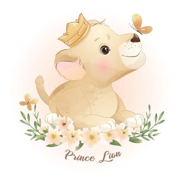 Cute Doodle Lion With Floral Illustration In 2021 Cute Doodles Floral Illustrations Birthday Illustration