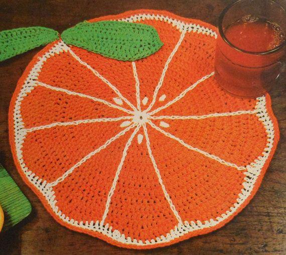 Retro Orange Slice Place Mat Crochet Pattern placemat