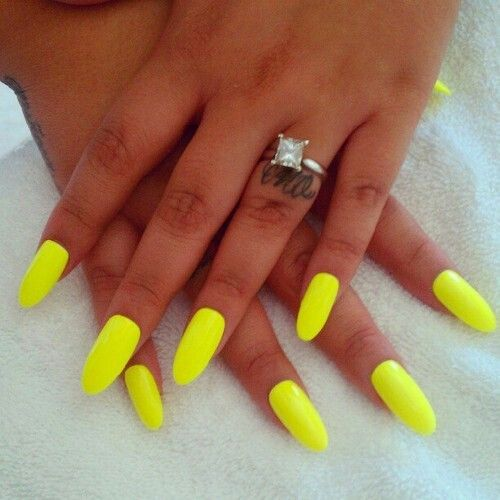 Neon Bright Yellow Almond Nails Nails Almond Nails Nails Trendy Nails