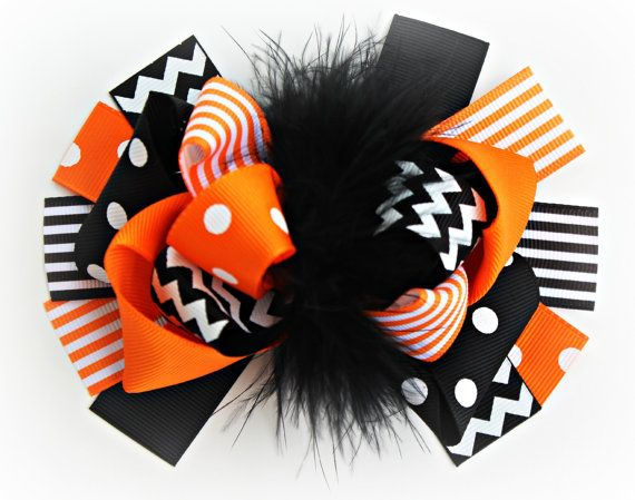 Black and Orange Chevron Hair Bow, Stripe Print Fall Bow, Boutique Bow , Hair Bow, Orange ribbon, Black Ribbon, Marabou on Etsy, $7.95