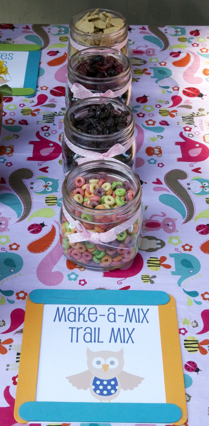 Make your own trail mix with fruity cheerios, raisins, bunny grahams and dried fruit.