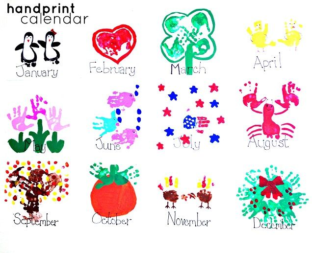 April Handprint Calendar : Handprint kids calendar craft idea trees crafts and