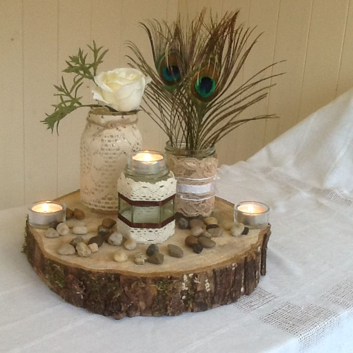 A very rustic themed centerpiece table centerpieces
