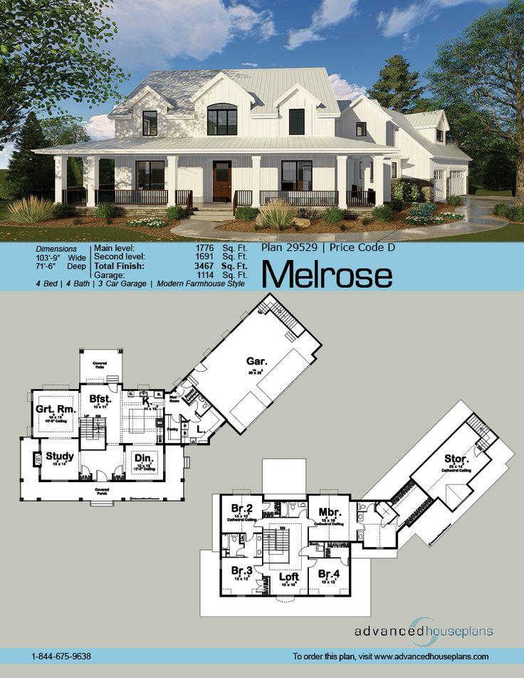 Melrose 2 Story Modern Farmhouse House Plan Modern
