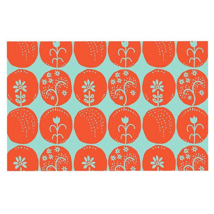 "Anneline Sophia ""Dotty Papercut Orange"" Circles Teal Decorative Door Mat"