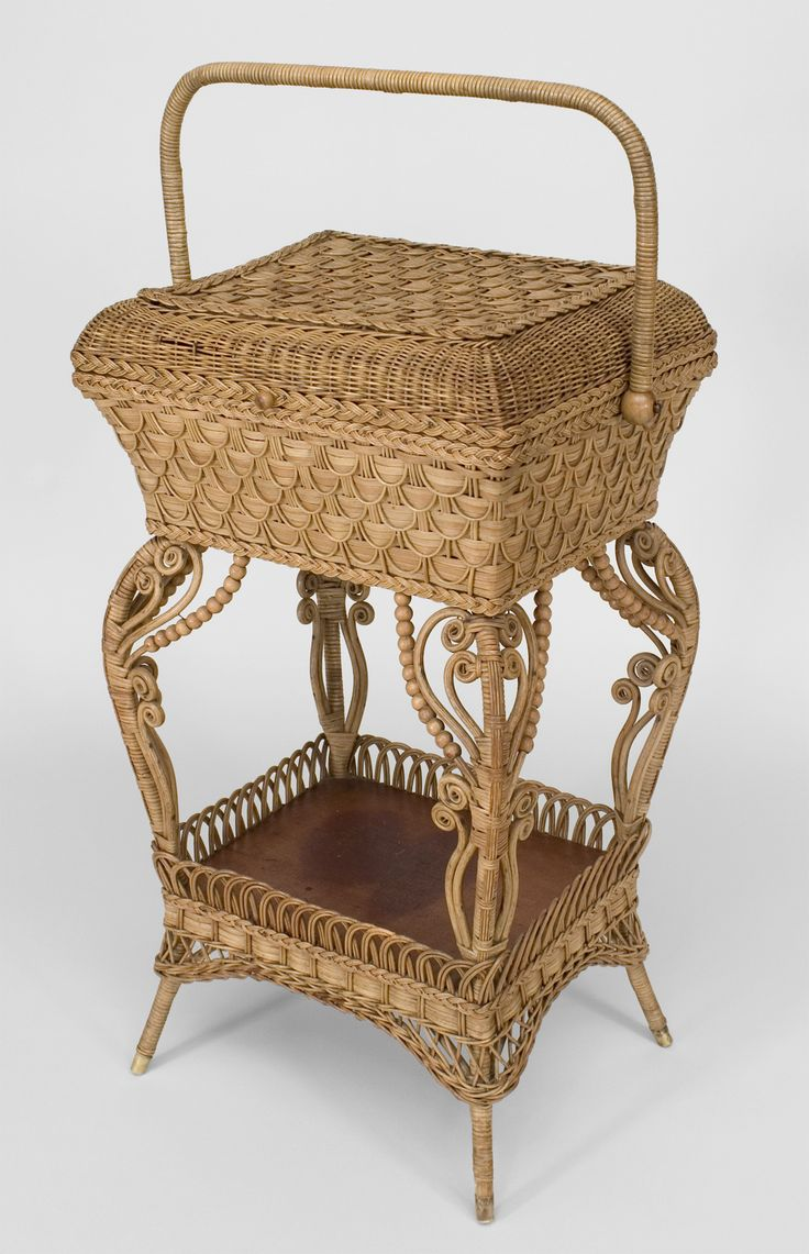 Victorian furniture table - Wicker Victorian Table Sewing Table Natural