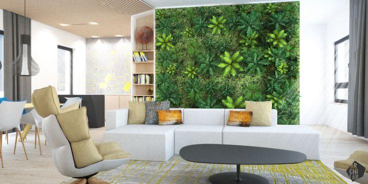 """INTERIÉR MÝTNA - """"Živá"""" zelená stena v podobe vertikálnej záhrady dodáva pocit bezprostredného kontaktu s prírodou."""