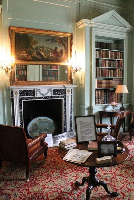 Cozy library, Mottisfont Abbey, by snaebyllej2, via Flickr