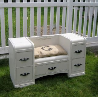 Vanity turned Window Seat! What is not to love about this project!