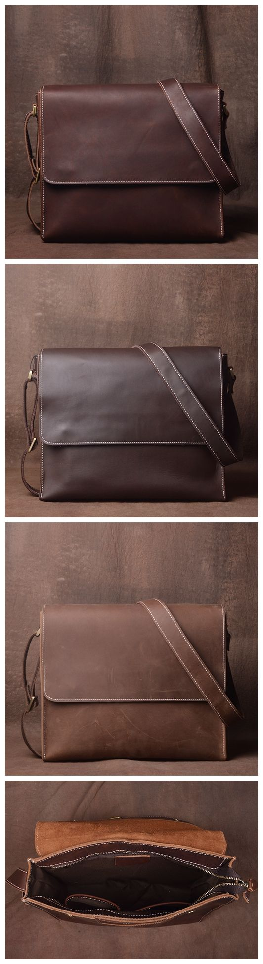 Side Bag, Leather Messenger Bag for Men, iPad Bag JZ008