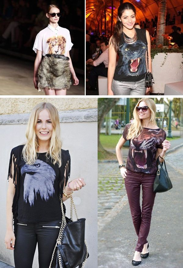 Hi girls, finally a fashion trend for the animal lovers: the Animal Face T-Shirts. Besides being beautiful, they are super comfortable, versatile and the best of all: it is possible to wear them in various interesting combinations.  They are very stylish t-shirts. You can choose from several animals: tigers, lions, dogs, monkeys, owls, cats, finally, the range is wide and you have a lot of options.