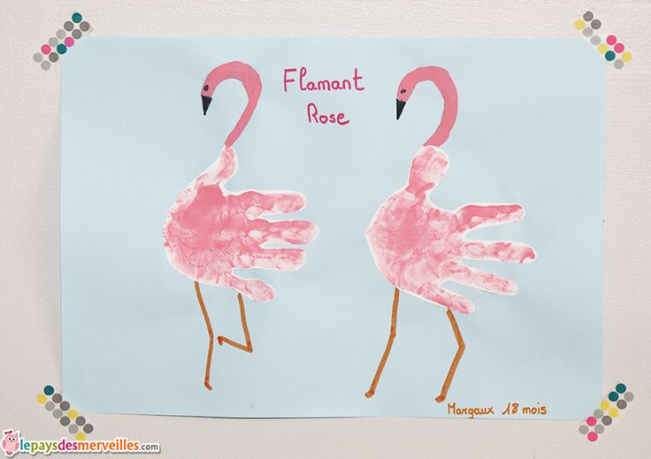 flamant rose empreinte de main