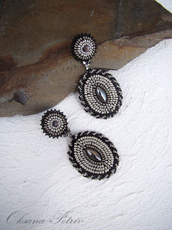 Bead embroidered earrings. Dangle earrings. Silver Black Turquoise.