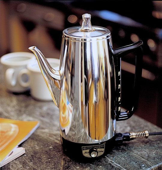 ge percolator: we were able to get one from dennis' grandma. percolated coffee is some of the best you will ever have. bar none.