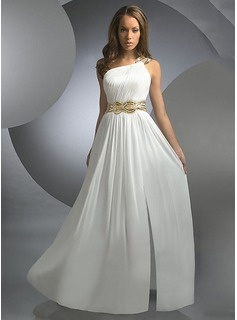 A-Line/Princess One-Shoulder Floor-Length Chiffon  Charmeuse Evening Dresses With Ruffle  Beading (017005603)
