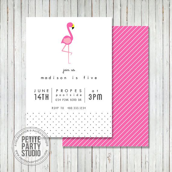 pink flamingo theme printable birthday party invitation or baby shower petite party studio