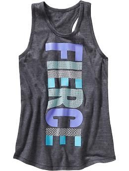 E - Girls Old Navy Active Text-Graphic Tanks | Old Navy