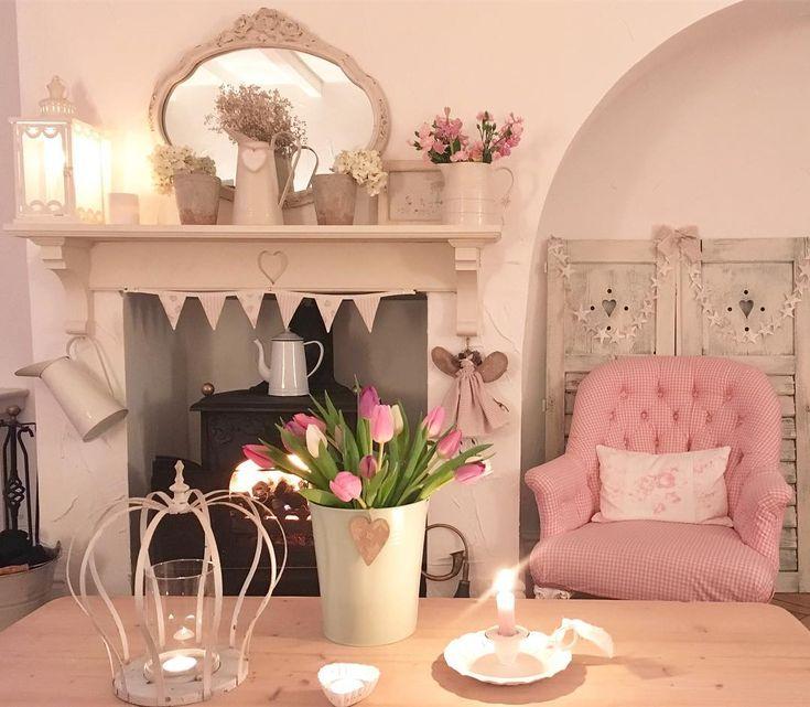"715 Likes, 20 Comments - Pauline - Hugs & Hearts (@hugsandhearts_) on Instagram: ""Home #cosy #pink #vintage #cottage #freshflowers #bunting #logburner #frenchcrown @hugsandhearts_"""