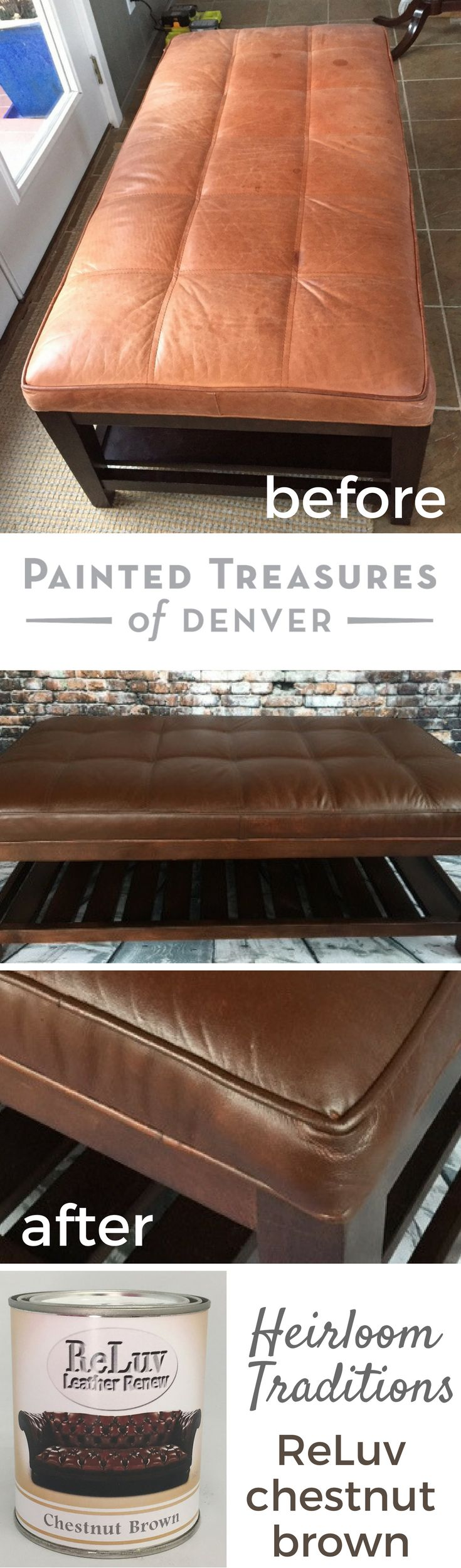 25 best crate and barrel coupon ideas on pinterest used mini this crate and barrel leather ottoman got a makeover using heirloom tradition s reluv in chestnut brown