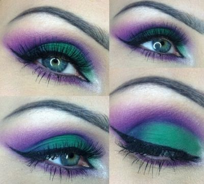 Green and Purple Smokey Eye... Wish I could pull this off