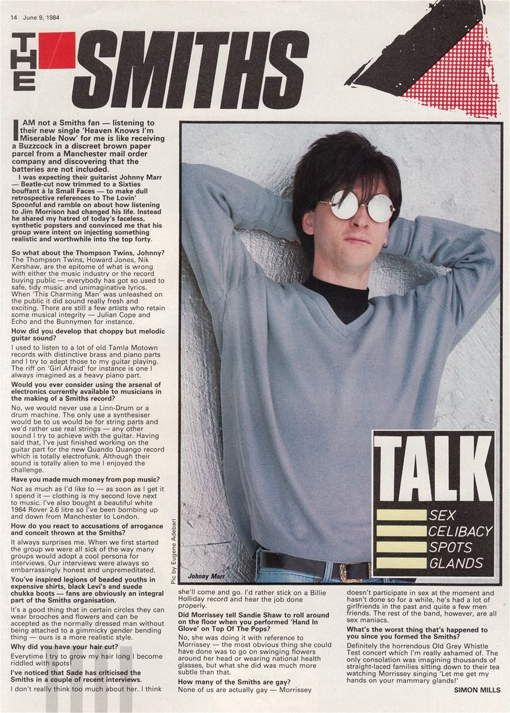 Interview with Johnny Marr of The Smiths - originally published in Record Mirror magazine on June 9, 1984 | photo by Eugene Adebari.